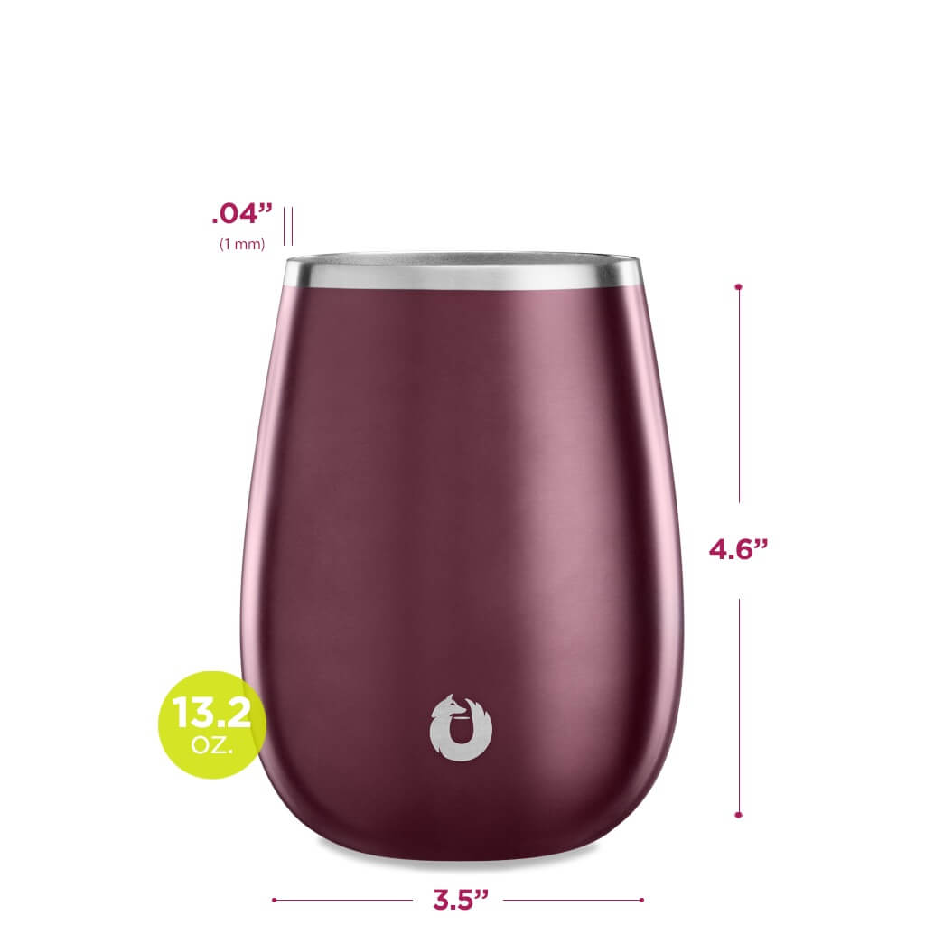 Stainless Steel Pinot Noir Wine Glass in Dark Rose -Dimensions