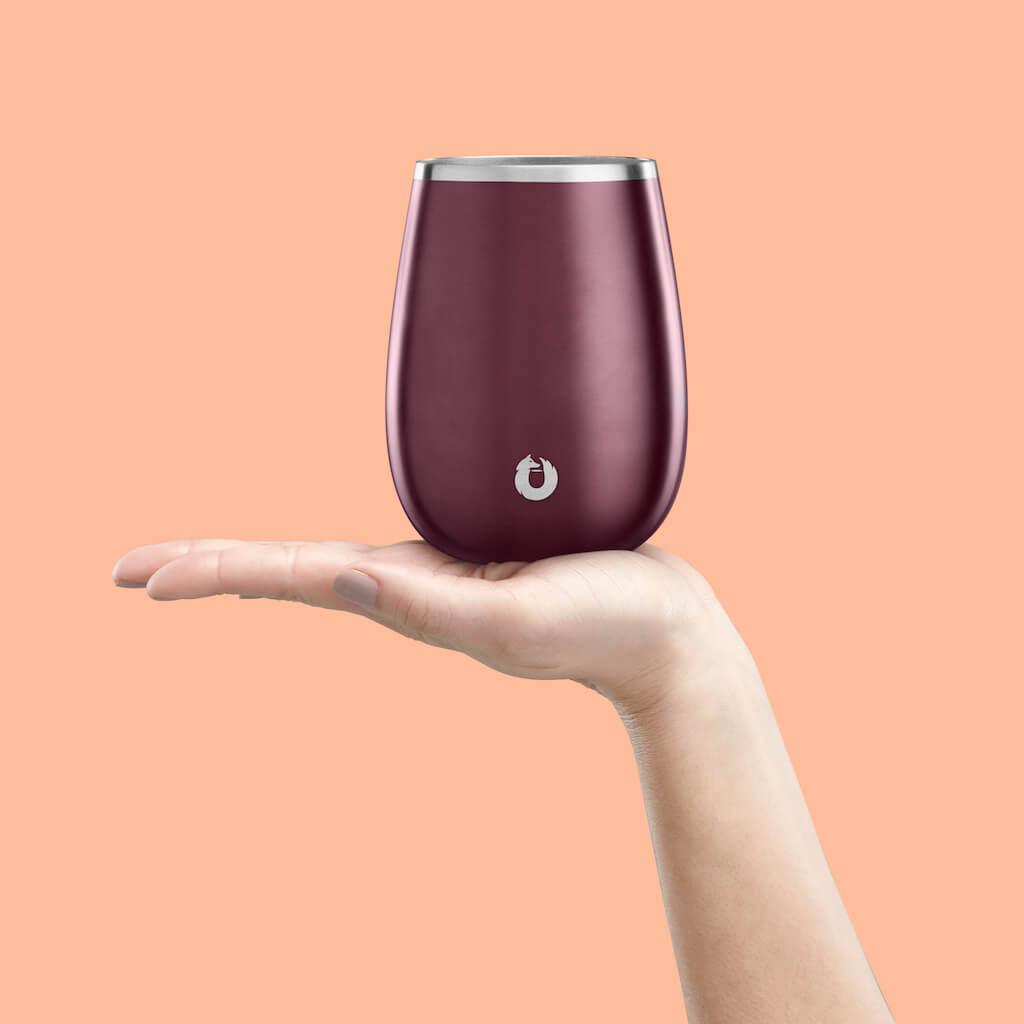 Stainless Steel Pinot Noir Wine Glass in Dark Rose - Perfect Fit
