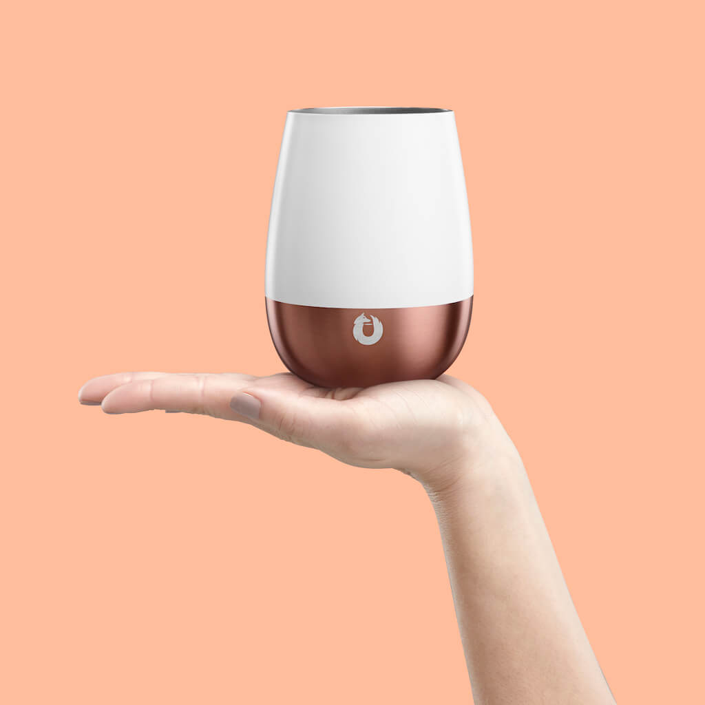 Stainless Steel Pinot Noir Wine Glass in White and Gold - Perfect Fit