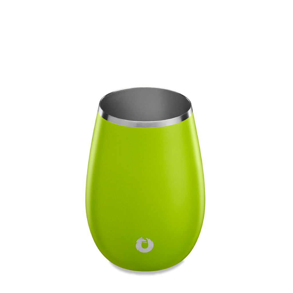 Stainless Steel Sauvignon Blanc Wine Glass in Lime - Top View