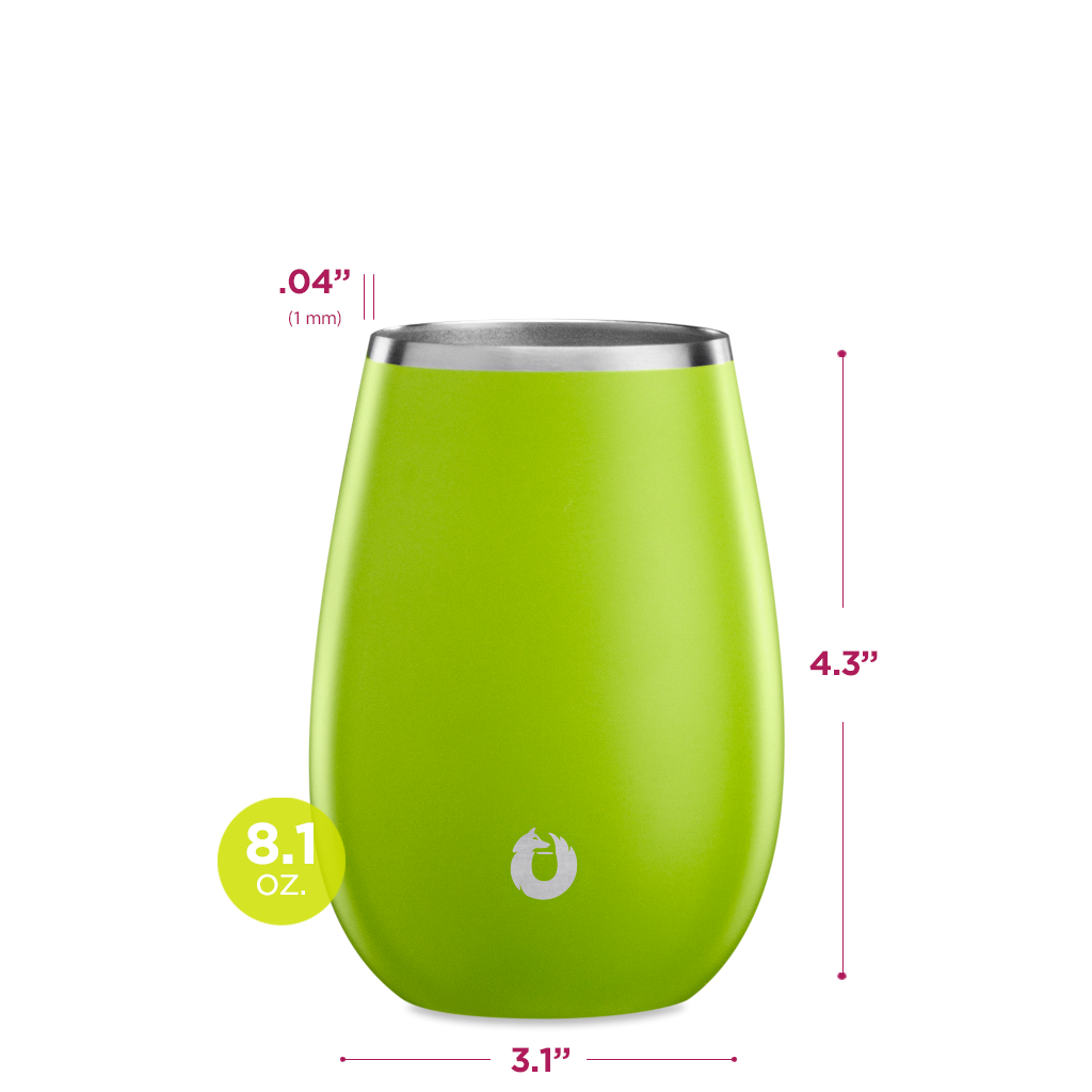 Stainless Steel Sauvignon Blanc Wine Glass in Lime - Dimensions