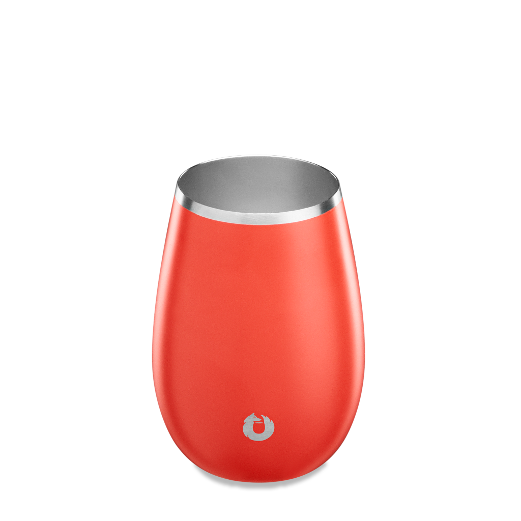 Stainless Steel Sauvignon Blanc Wine Glass in Coral - Top View