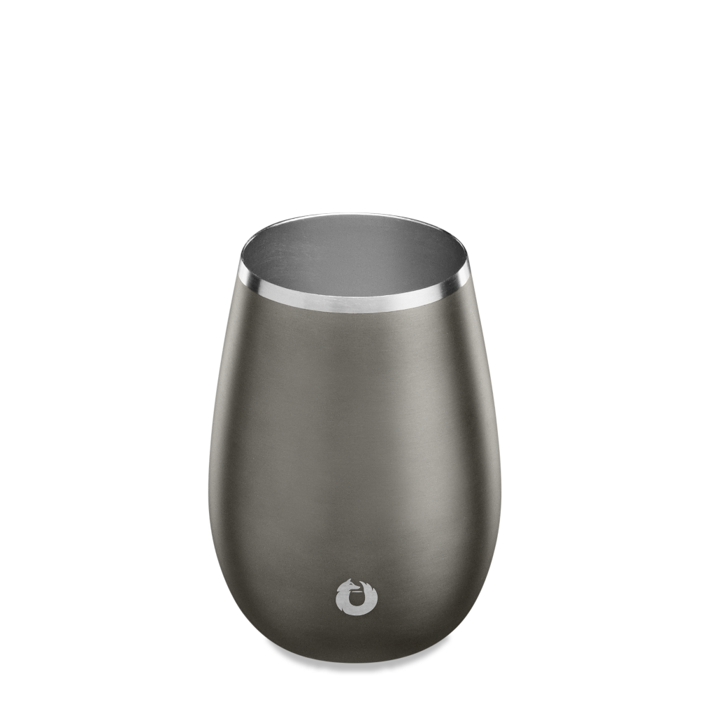 Stainless Steel Sauvignon Blanc Wine Glass in Olive Grey - Top View