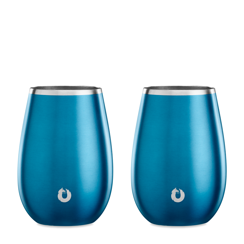 Stainless Steel Sauvignon Blanc Wine Glass in Soft Blue - Set of 2