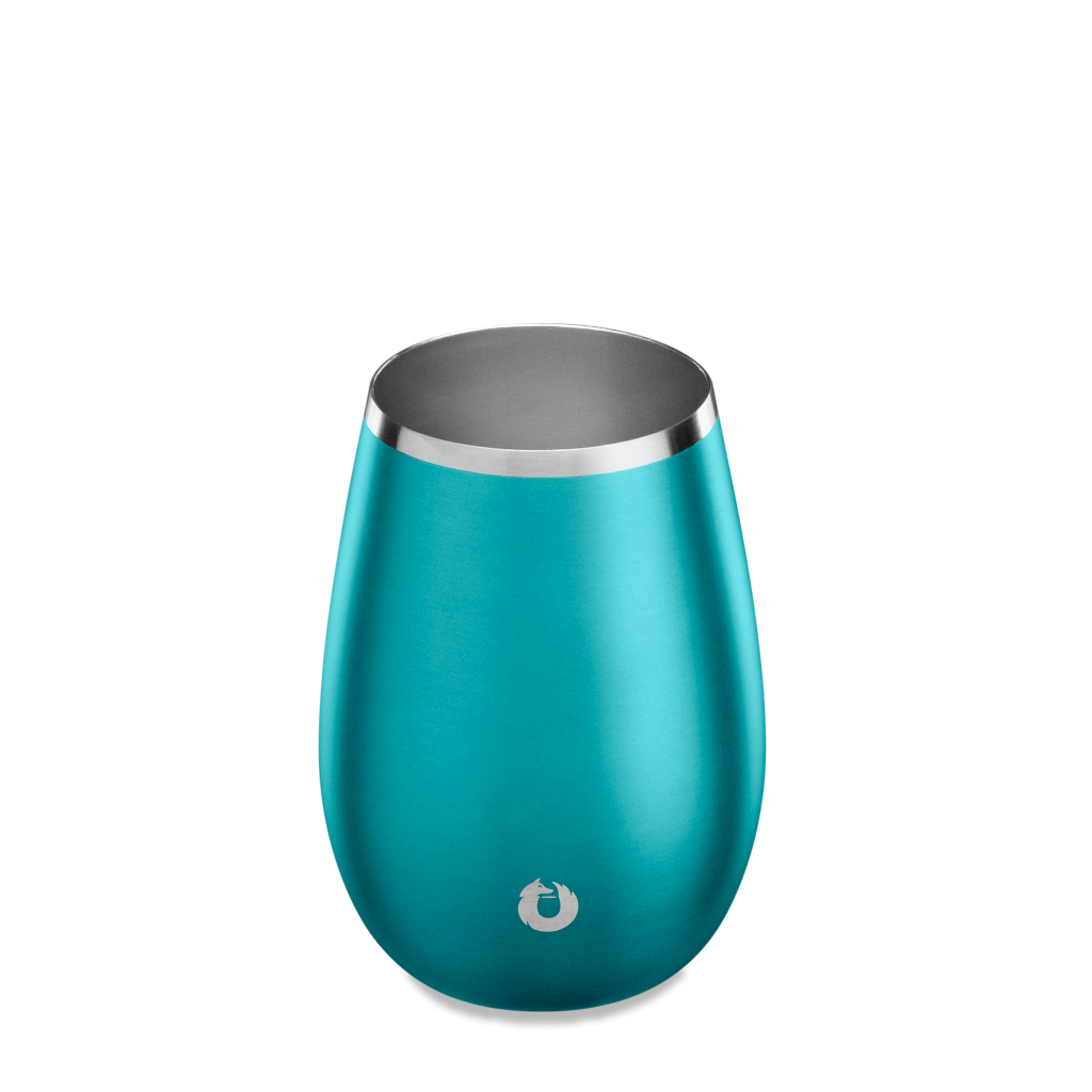 Stainless Steel Sauvignon Blanc Wine Glass in Metallic Teal - Top View