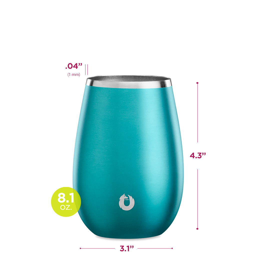 Stainless Steel Sauvignon Blanc Wine Glass in Metallic Teal - Dimensions