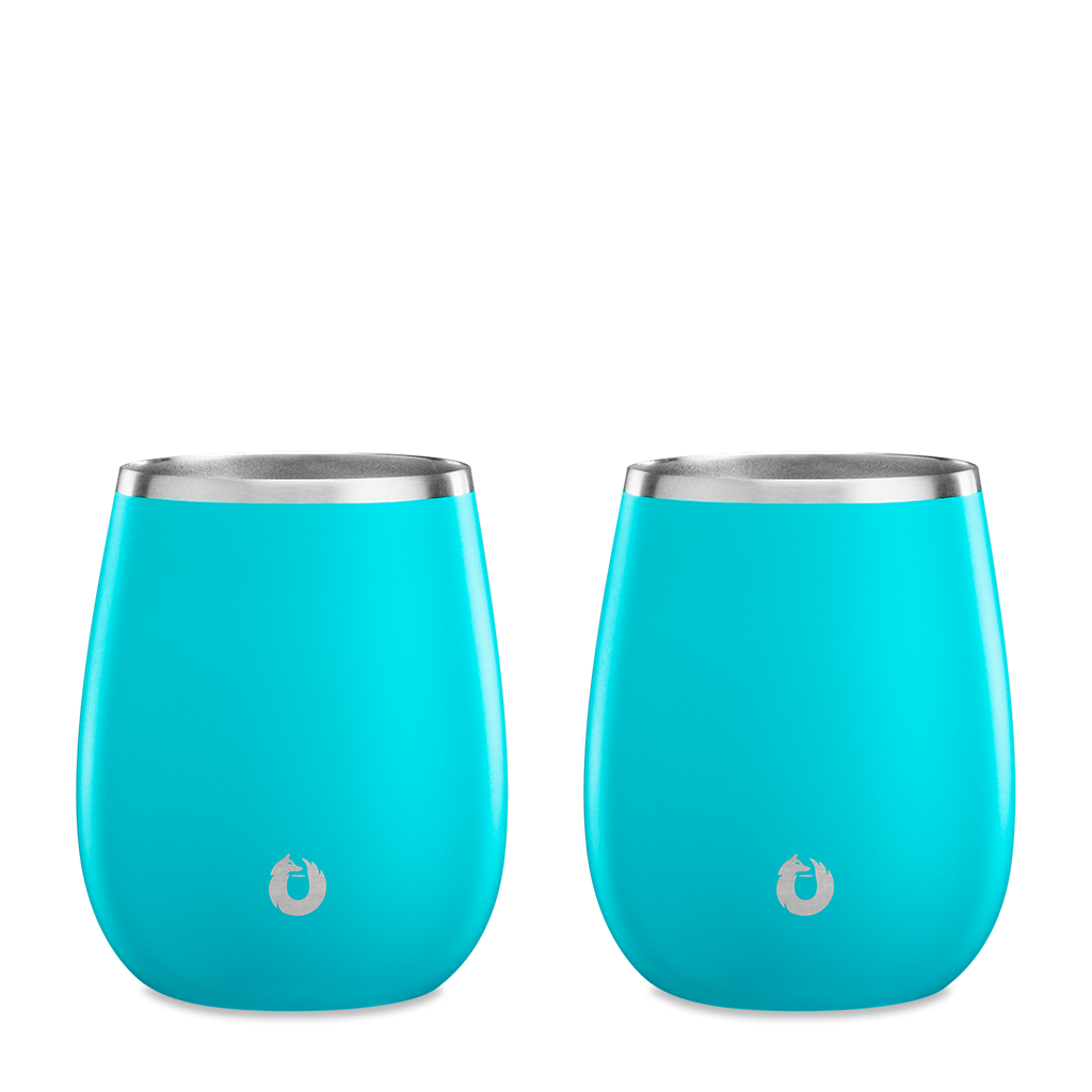 Stainless Steel Chardonnay Wine Glass in Teal - Set of 2