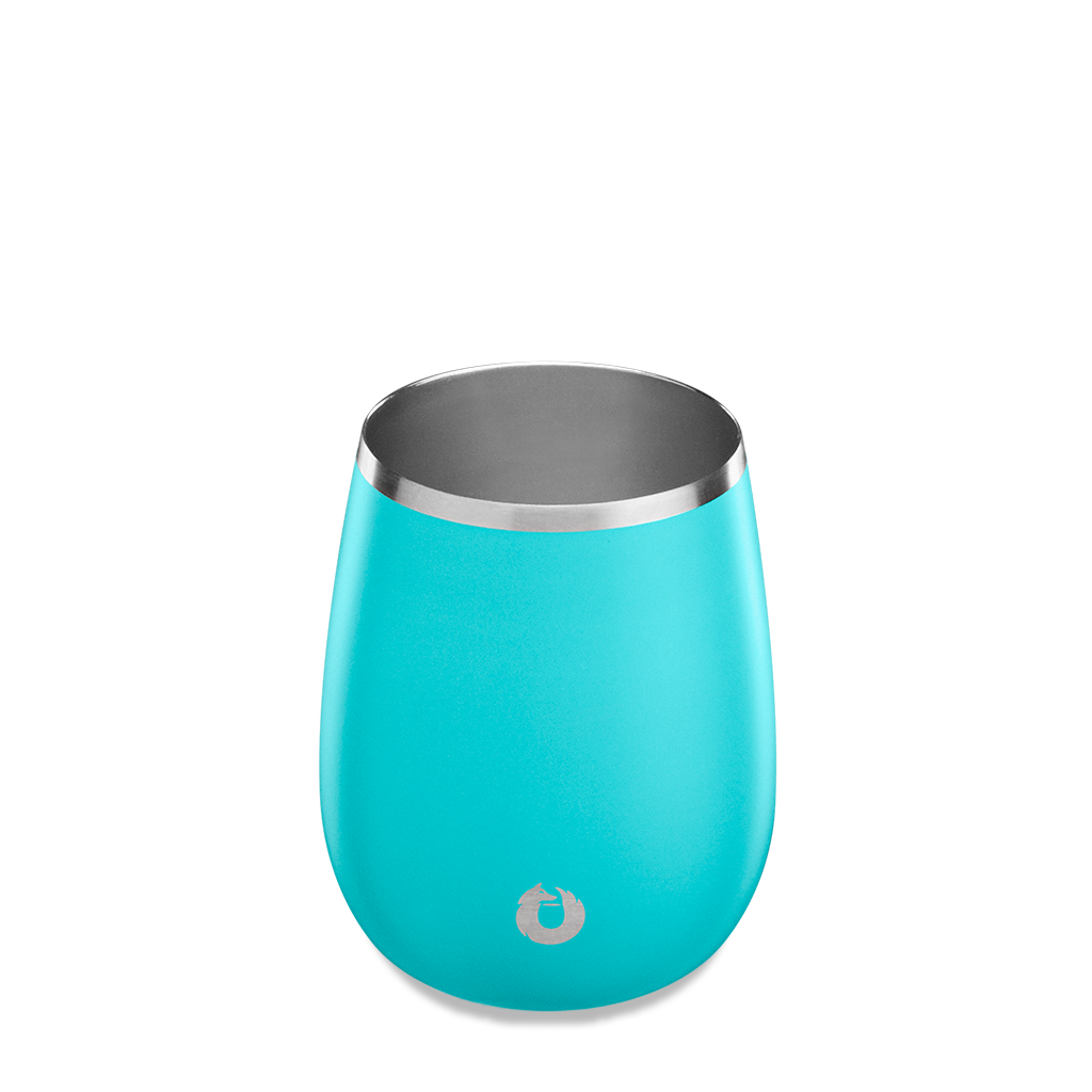 Stainless Steel Chardonnay Wine Glass in Teal - Top View
