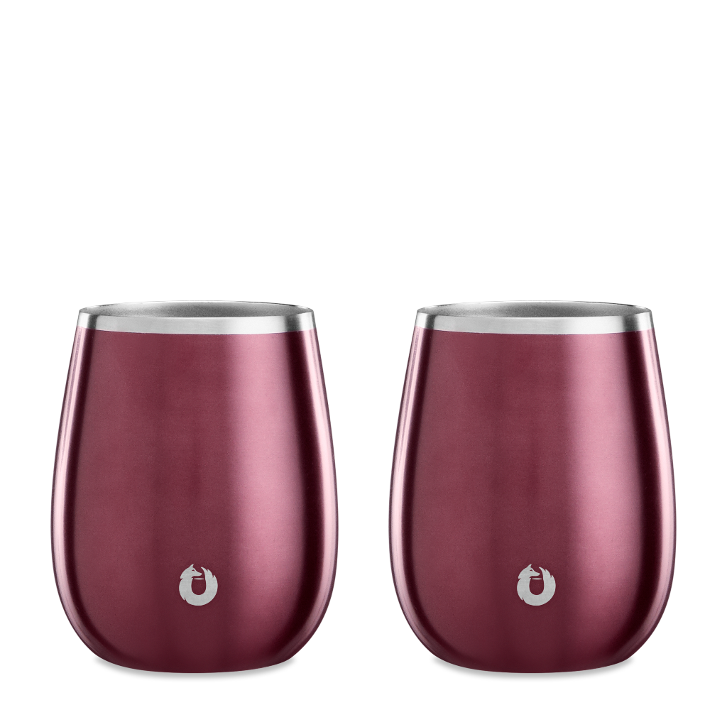 Stainless Steel Chardonnay Wine Glass in Dark Rose - Set of 2