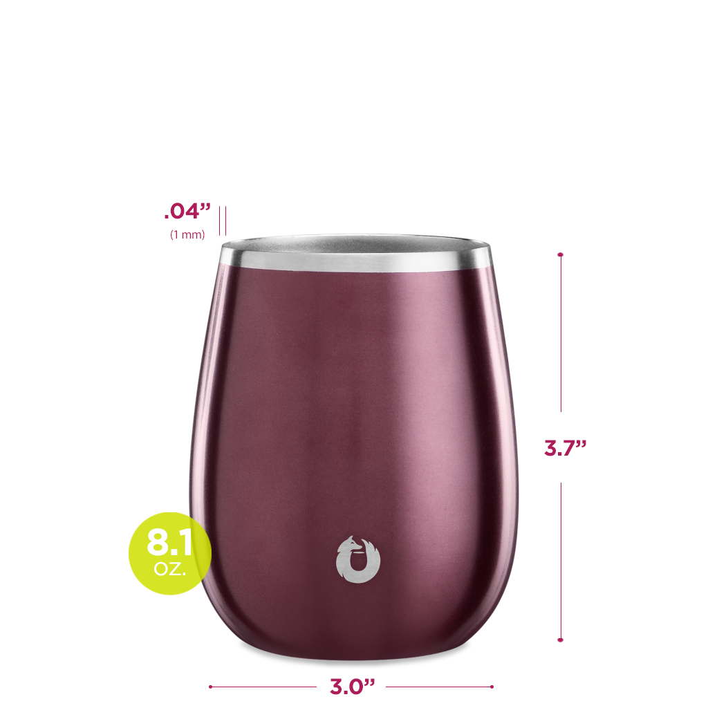 Stainless Steel Chardonnay Wine Glass in Dark Rose - Dimensions