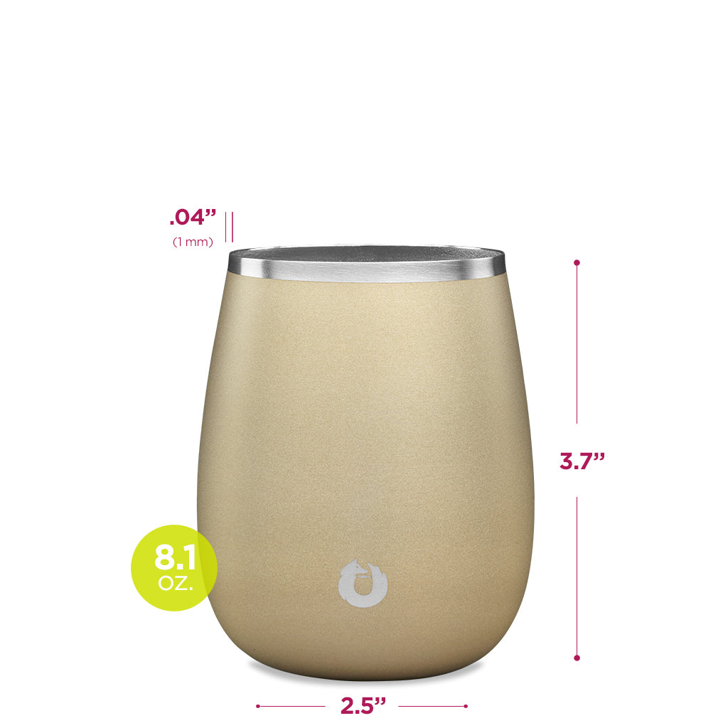 Stainless Steel Chardonnay Glass in Light Gold - Dimensions