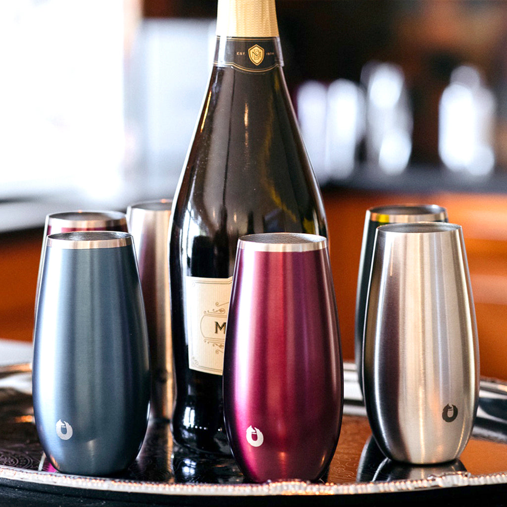 Thin rimmed and elegant, the Snowfox collection of stemless flutes keep your prosecco chilled from start to finish.