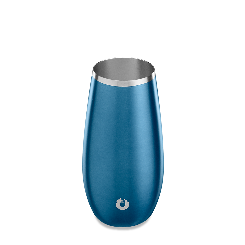 Stainless Steel Champagne Flute in Soft Blue - Top View