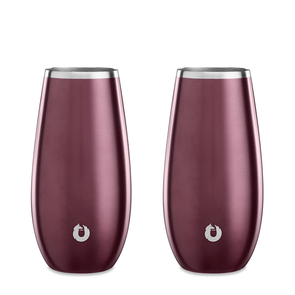 Stainless Steel Champagne Flute in Dark Rose- Set of 2