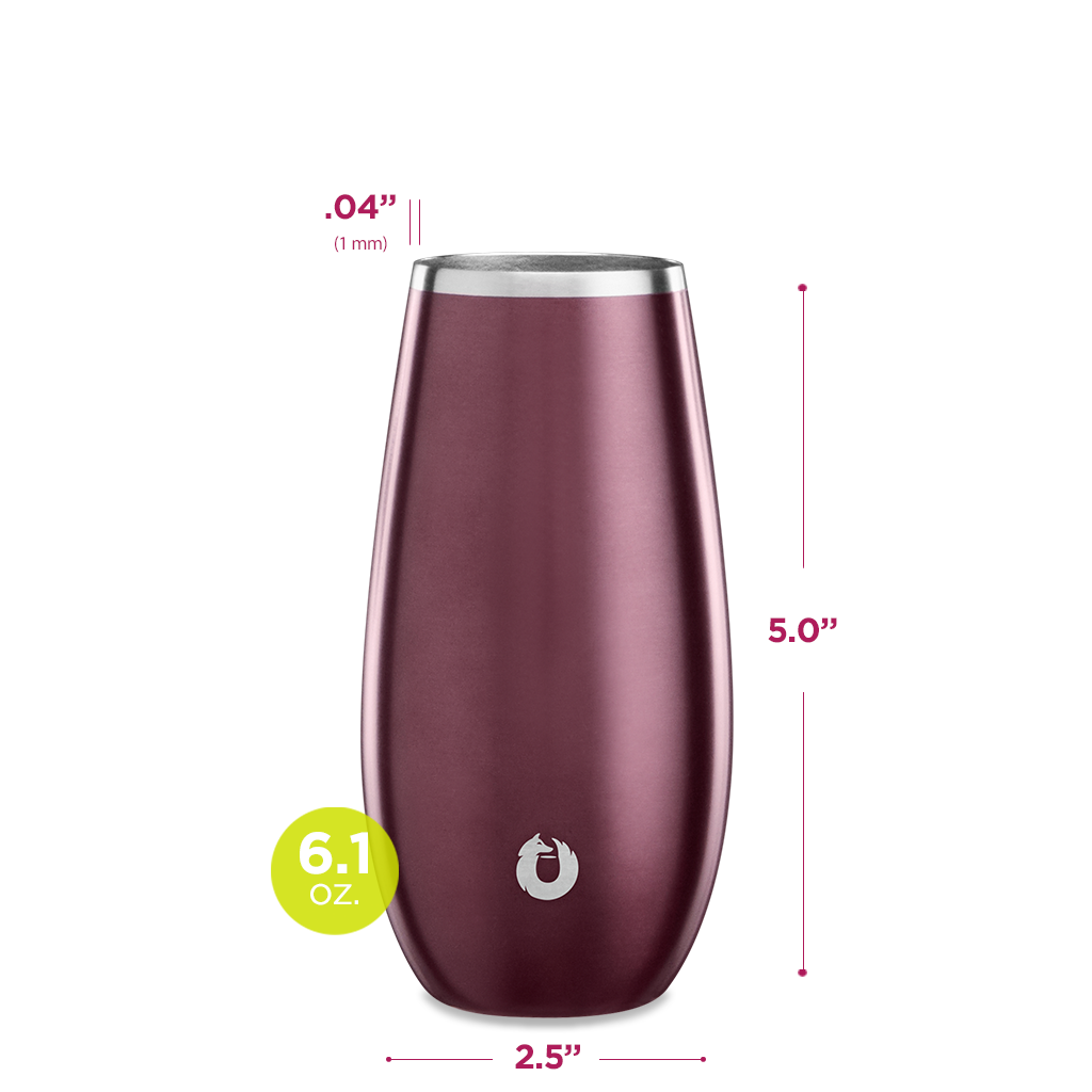 Stainless Steel Champagne Flute in Dark Rose- Dimensions