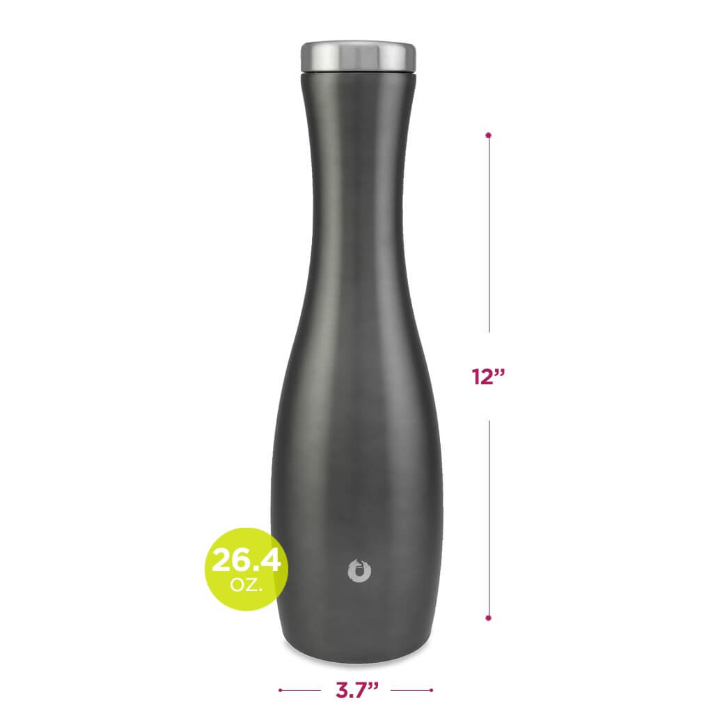 Stainless Steel Carafe in Olive Grey - Dimensions