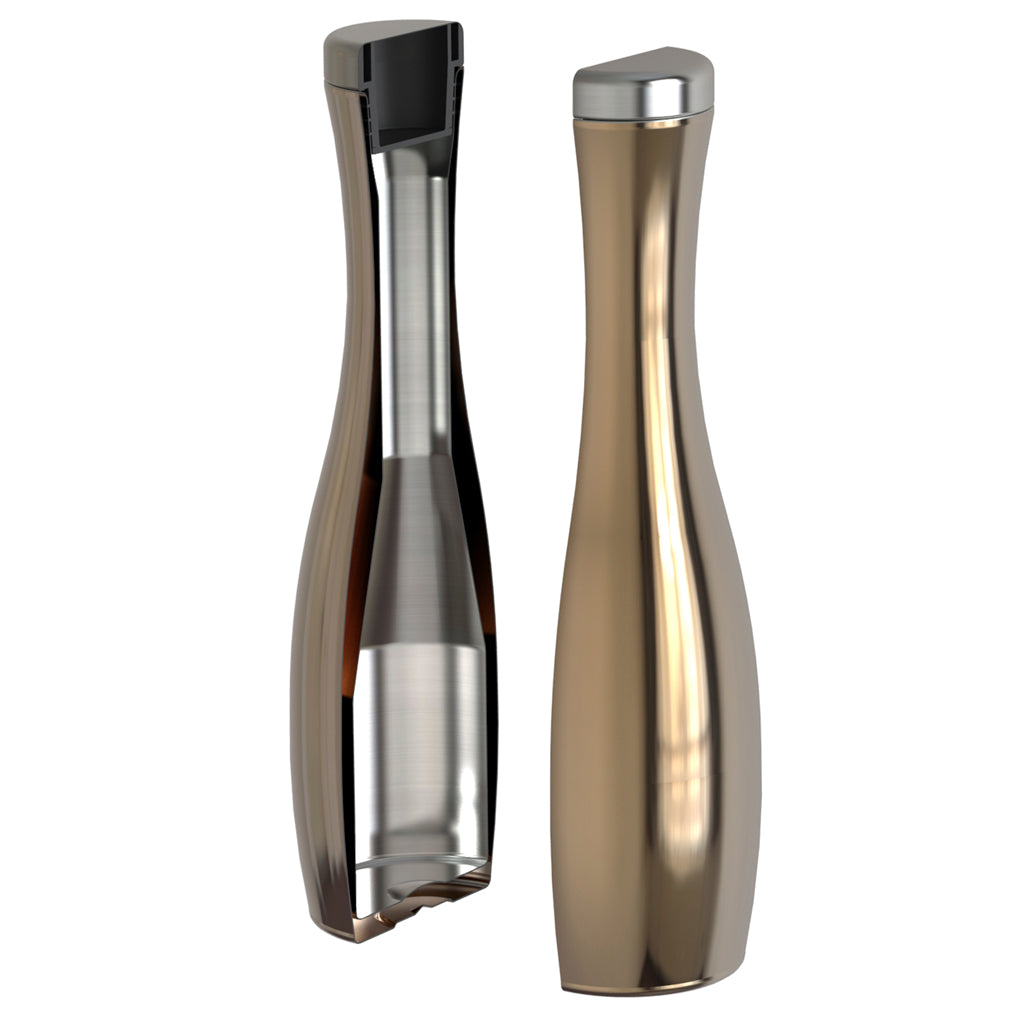 Stainless steel wine carafe is vacuum insulated and includes a unique cork-like lid.