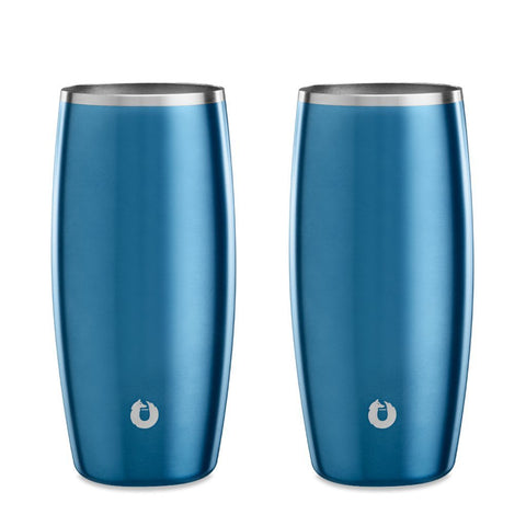 Stainless Steel Beer Glass in Soft Blue - Easy Grip