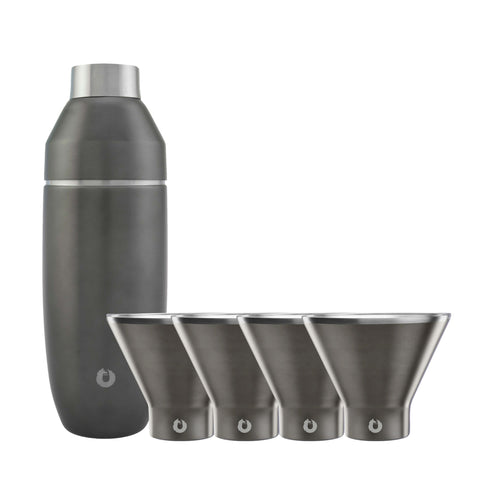 Olive-Grey: Stainless Steel Martini Glass Set with Cocktail Shaker