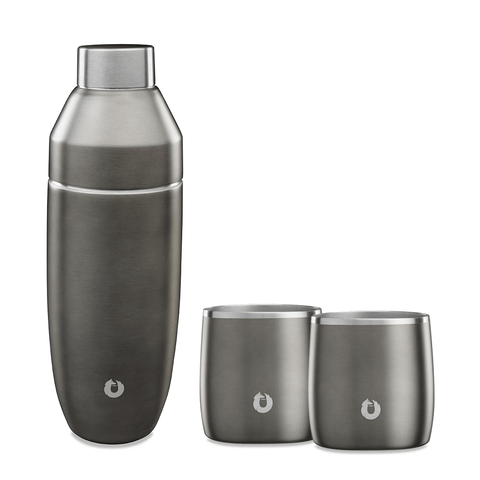 Olive-grey: Stainless steel rocks glass with shaker