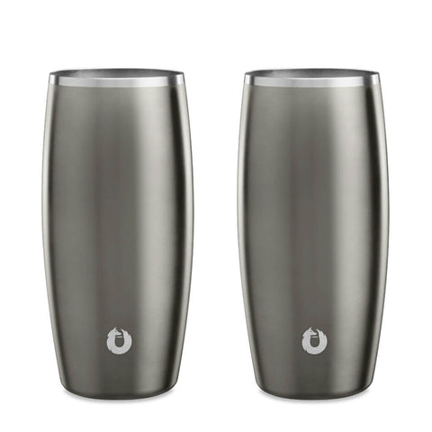 Stainless Steel Beer Glass in Olive Grey - Easy Grip