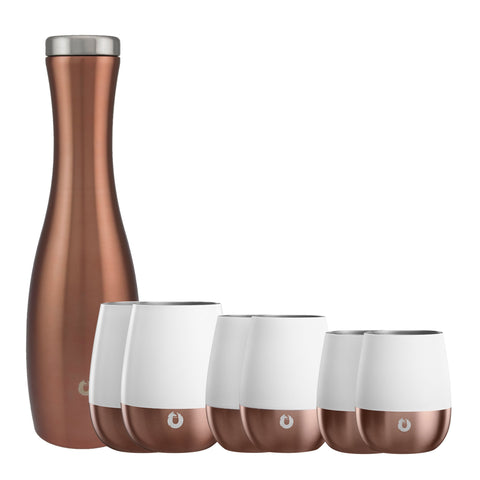 Stainless Steel Wine Glass Set with Carafe for Her - White and Gold