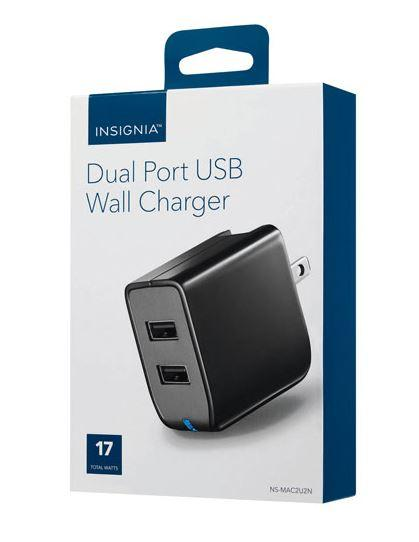 Insignia NS-MAC2U2N-C 2 Port Wall Charger - BLACK (Open Box)