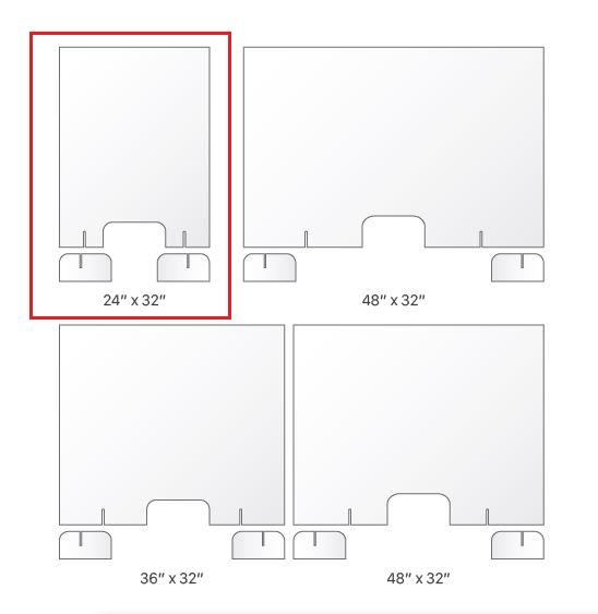 "BSG‐2432 24"" x 32"" 4.2mm-thick Clear Countertop Sneeze Shield with Transaction Slot (New)"