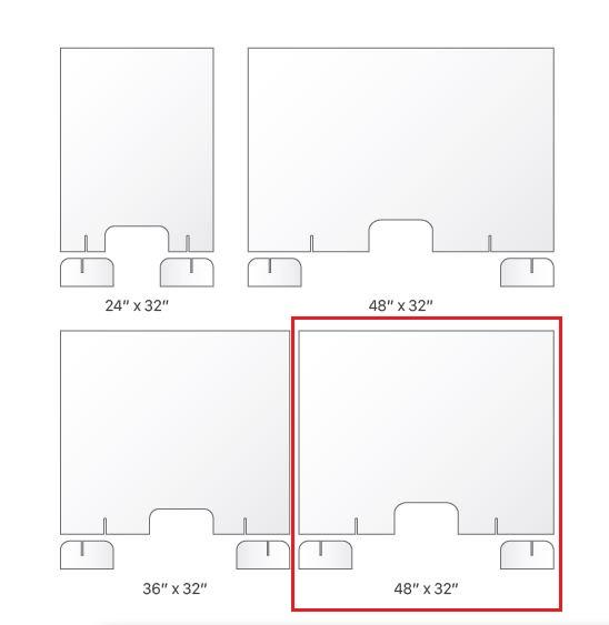 "BSG‐4032 40"" x 32"" 4.2mm-thick Clear Countertop Sneeze Shield with Transaction Slot (New)"