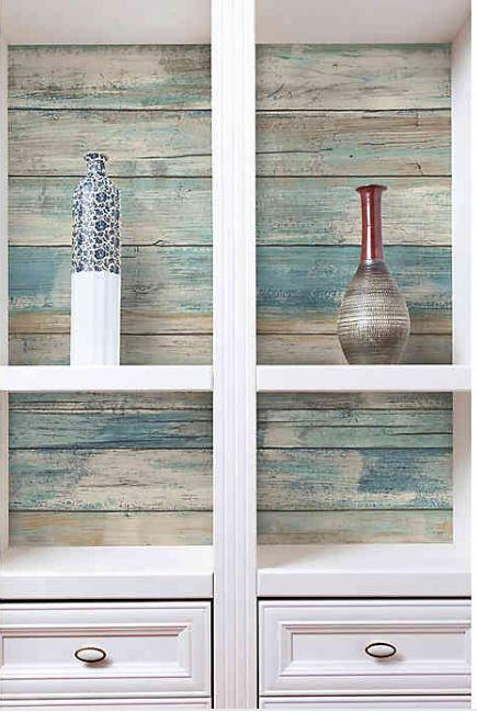 RoomMates RMK9052WP Distressed Wood Peel & Stick Wallpaper – Blue (Open Box)