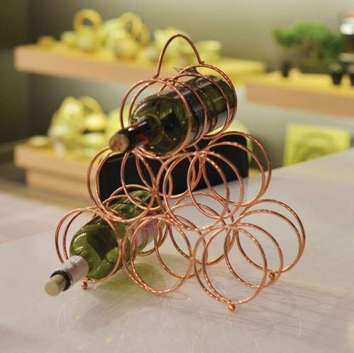 Fable 68021 6-Bottle Wire Wine Rack - Rose Gold