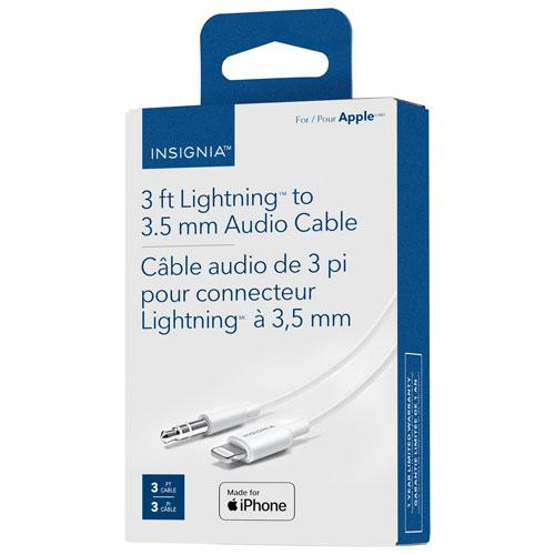 Insignia NS-MA35A83W-C 0.9m (3 ft.) Lightning/3.5mm Stereo Cable - White (Open Box)