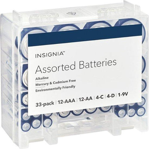 Insignia NS-CBATBOX-C Assorted Battery Set - 33 Pack, It includes AA, AAA, C, D, and 9V. (Open box)