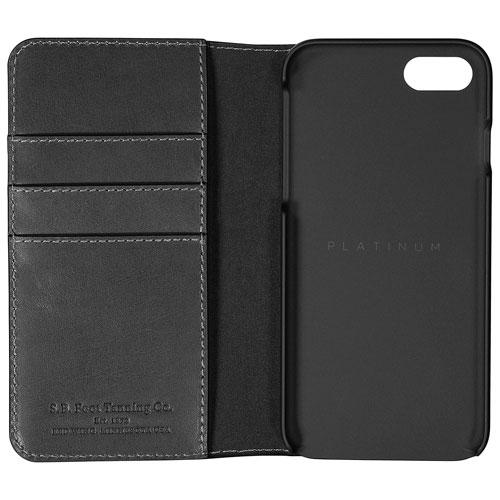 Platinum Series PT-MA7SSBLWB-C Fitted Hard Shell Leather Wallet for Apple iPhone 7/8 - Dark Grey (New Other)