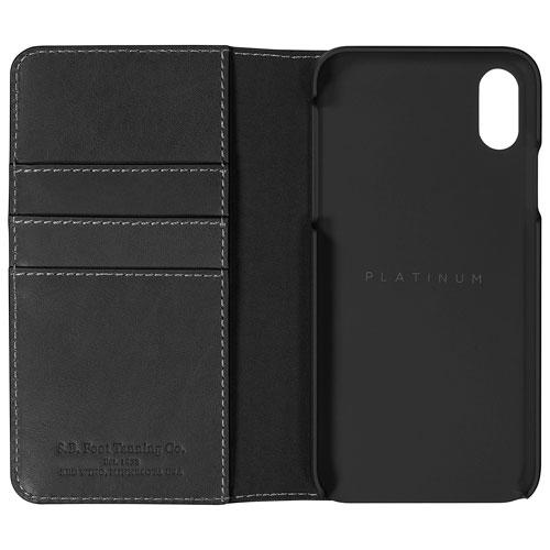 Platinum Series PT-MAXSBLWG-C Fitted Hard Shell Leather Wallet for Apple iPhone X - Dark Grey (New Other)
