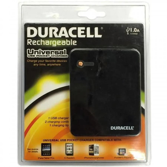 Duracell Universal USB pocket charger, USB output 1 Amps, 1350mAh (5.0Wh)