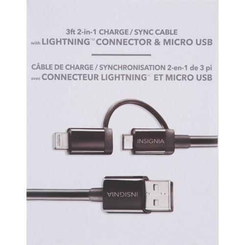 Insignia Cell Phone Accessories Insignia NS-T2N1A5-C 1m (3.3 ft) USB to Micro/Lightning Cable (OpenBox)