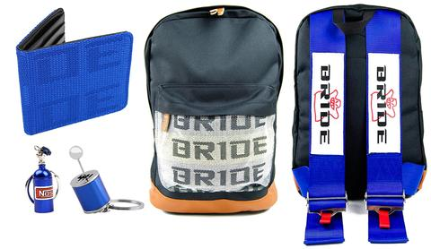 Bride Combo Blue - JDM Backpack with blue racing harness straps. Brown leather bottom. Bride Racing Car Wallet, Gear Shift Keychain and NOS Bottle keyring