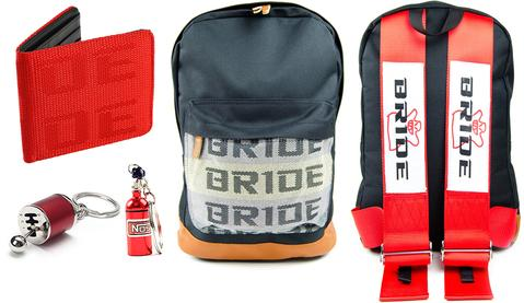 Bride Combo Red - JDM Backpack with red racing harness straps. Brown leather bottom. Bride Racing Car Wallet, Gear Shift Keychain and NOS Bottle keyring
