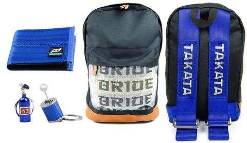 JDM Combo Blue - Bride Backpack with Blue Racing Harness Straps and brown leather bottom. Racing FD Car Wallet, Gear Shift Keychain, and NOS Bottle keyring in blue