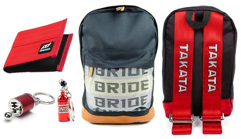 JDM Combo Red - Bride Backpack with Red Racing Harness Straps and brown leather bottom. Racing FD Car Wallet, Gear Shift keychain, and NOS Bottle keyring in red