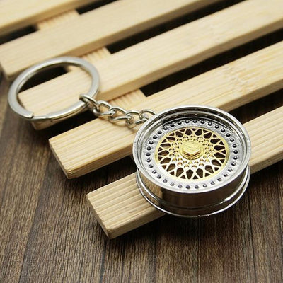 BBS Mesh Wheel - Car Keychain - JDM Key Ring - Gold
