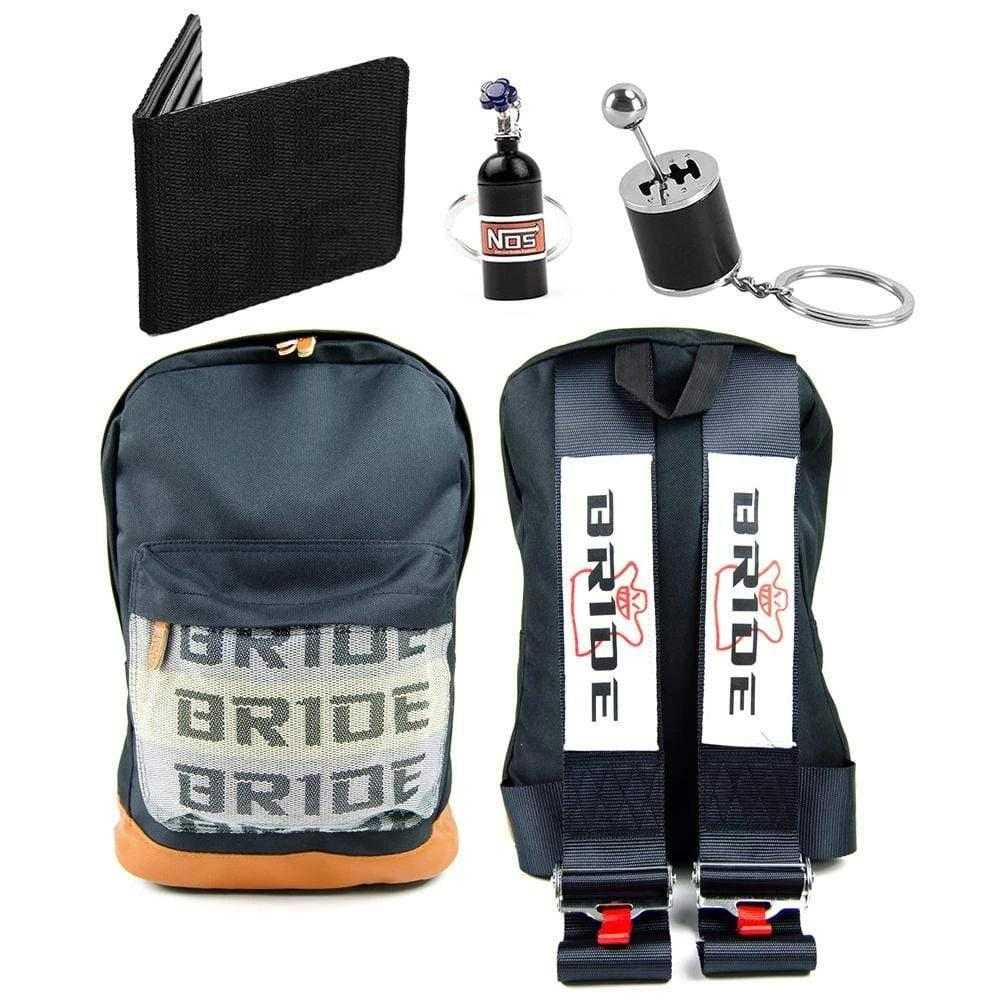 Bride Combo Black - JDM Backpack with black racing harness straps. Brown leather bottom. Bride Racing Car Wallet, Gear Shift Keychain and NOS Bottle keyring