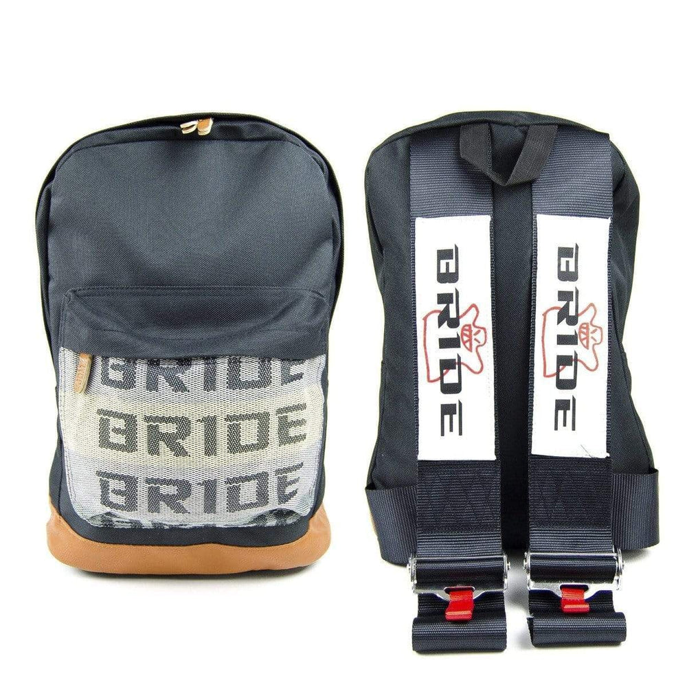 Bride JDM Backpack - Black Racing Harness Straps with brown leather bottom