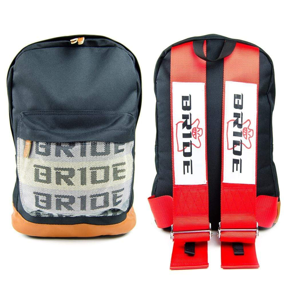 Bride JDM Backpack - Red Racing Harness Straps with brown leather bottom