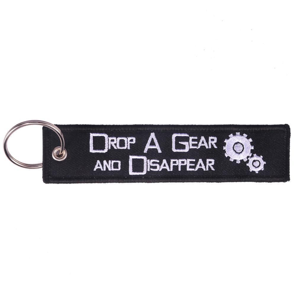 Drop A Gear And Disappear - Car Key Tag - Embroidered on both sides - Car and JDM Accessories
