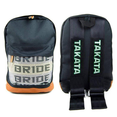 JDM Backpack - Black Racing Harness Straps - with Bride front pocket and leather bottom