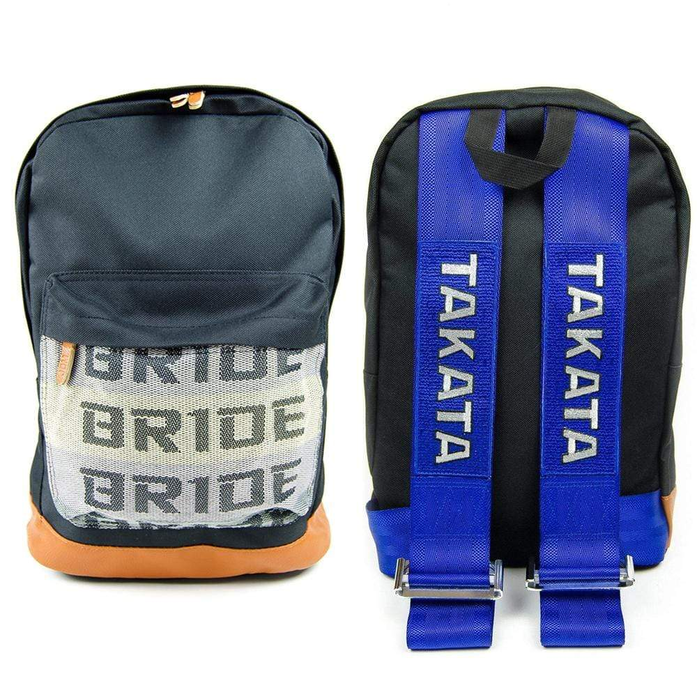 JDM Backpack with blue racing harness straps and brown leather bottom