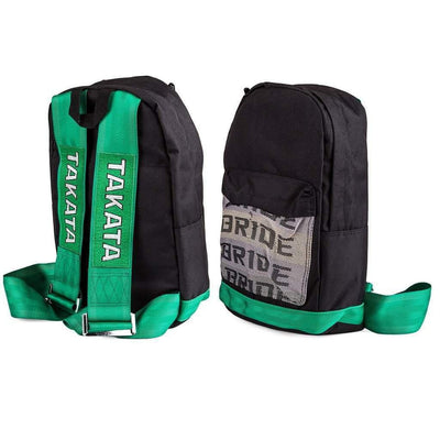 JDM Backpack - Fully Green Racing Harness Straps - with Bride front pocket and leather bottom