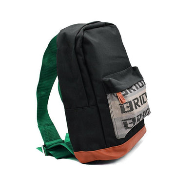 JDM Backpack - Green Racing Harness Straps - with Bride front pocket and leather bottom